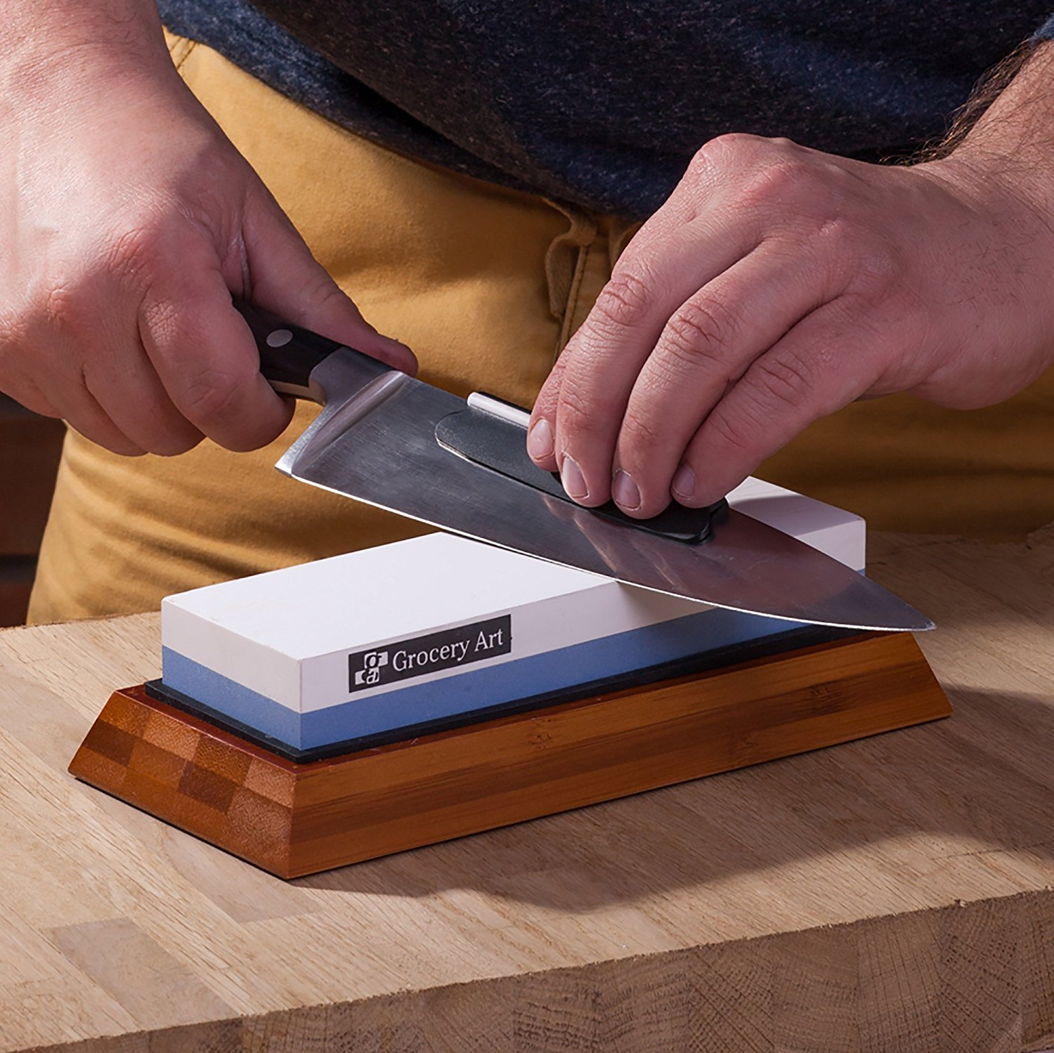Whetstone Knife Sharpening Stone | Waterstone Knife Sharpener 1000-6000 Grit with Non-Slip Bamboo Base and Angle Guide | Best Wet Stone Kitchen Knives Sharpening Kit by Grocery Art (Image #5)