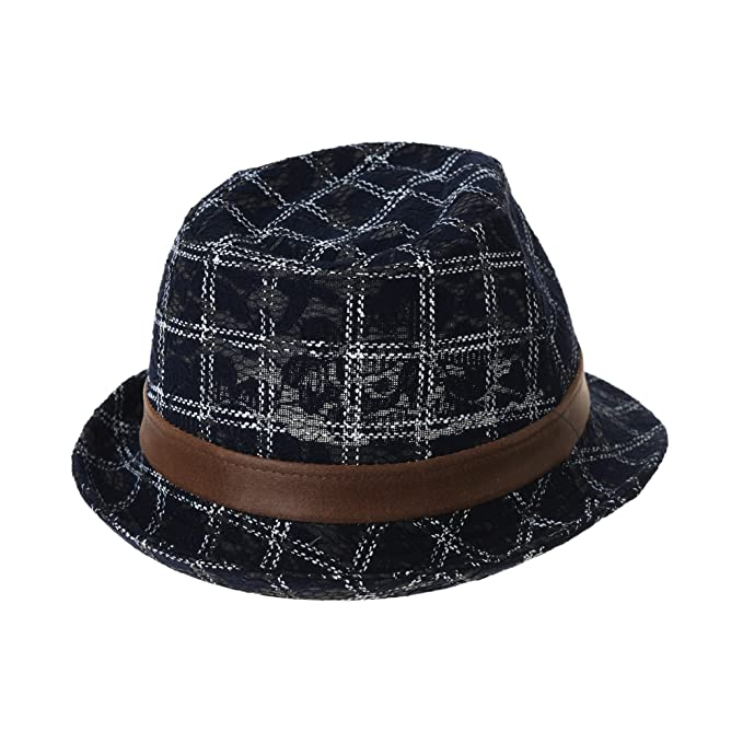 33a9d8a07b3 WITHMOONS Chapeau Fedora Fedora Hat Tartan Plaid Check Summer Cotton Trilby  LD6949 (Navy)  Amazon.fr  Vêtements et accessoires