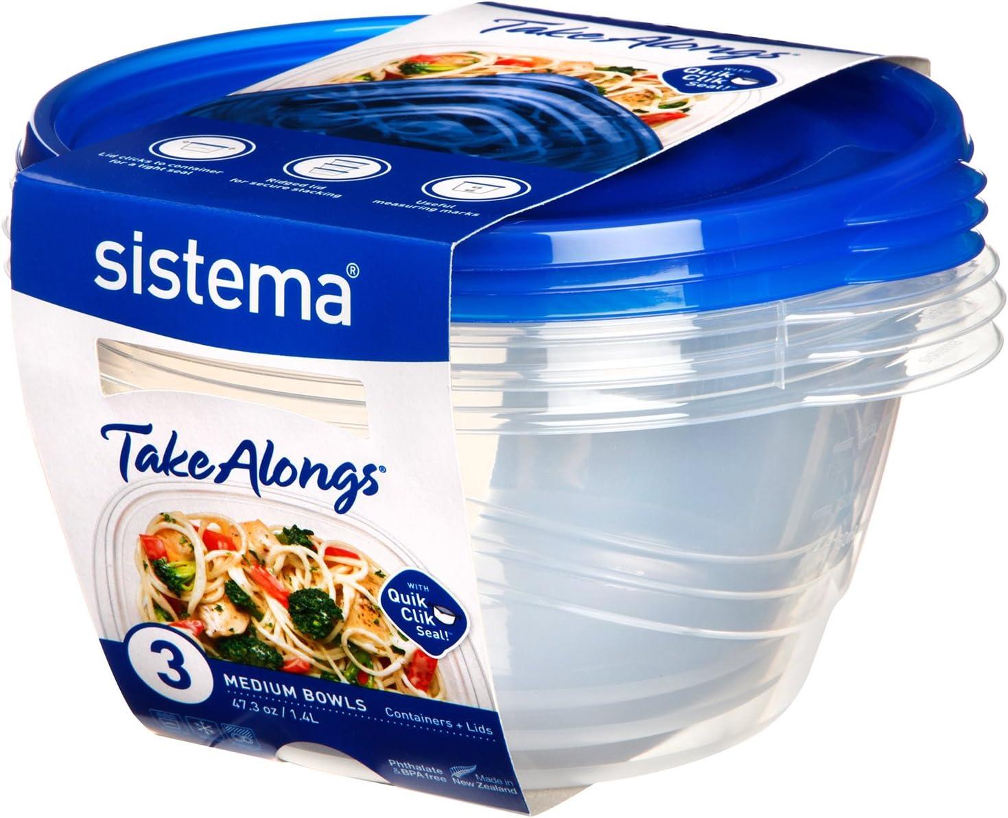 Sistema Food Storage Containers, Transparent/Blue, 1.4 L