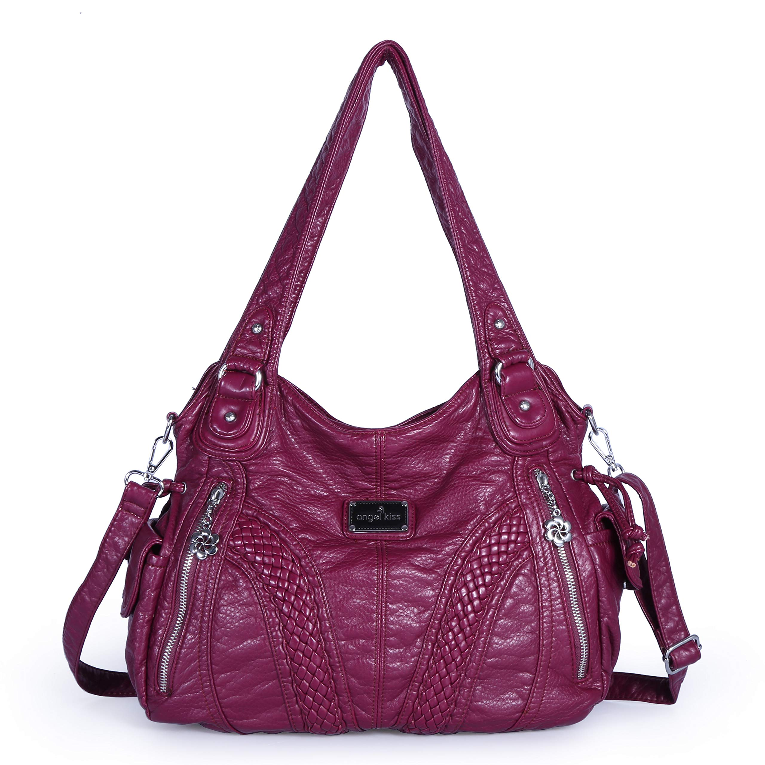 fc3c0aa885 Galleon - Angelkiss Women Top Handle Satchel Handbags Shoulder Bag  Messenger Tote Washed Leather Purses Bag (P-Red)
