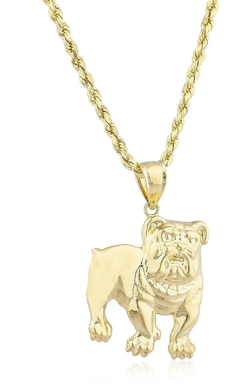 "10K Yellow Gold Bulldog Pendant with 10K 24"" Rope Chain"