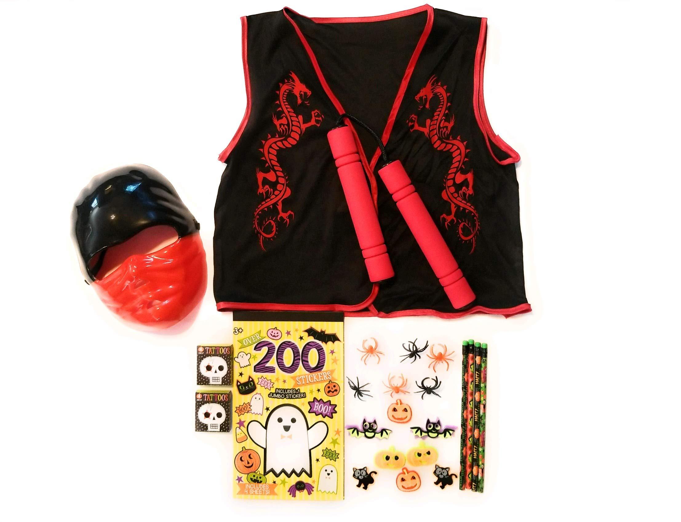 - 81K27PeipKL - Halloween Kids Red Ninja Bundle Costume Mask, Vest, Toy Numchuks