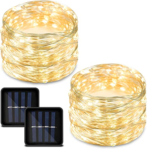 2 Pack Solar String Lights, Copper Wire Outdoor String Lights,Waterproof Small Solar Fairy Lights Warm White with 8 Modes 33ft 100LED Decorative String Lights for Patio, Garden, Christmas