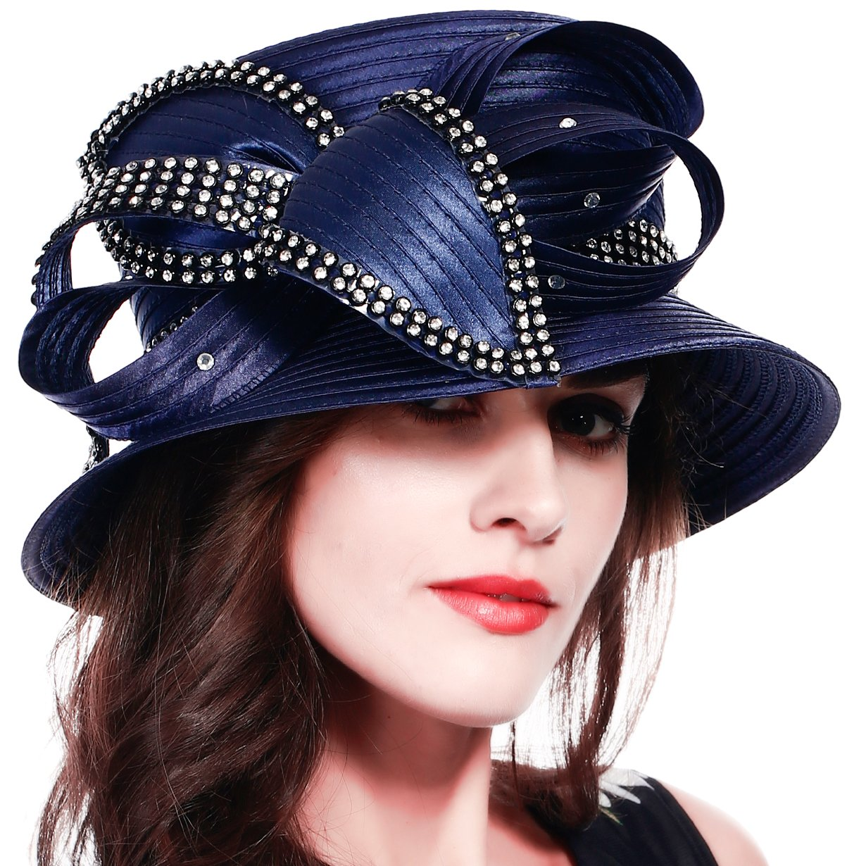 FORBUSITE Stripe Ribbon Asymmetry Church Derby Dress Hat SD707 (Navy) by FORBUSITE (Image #2)