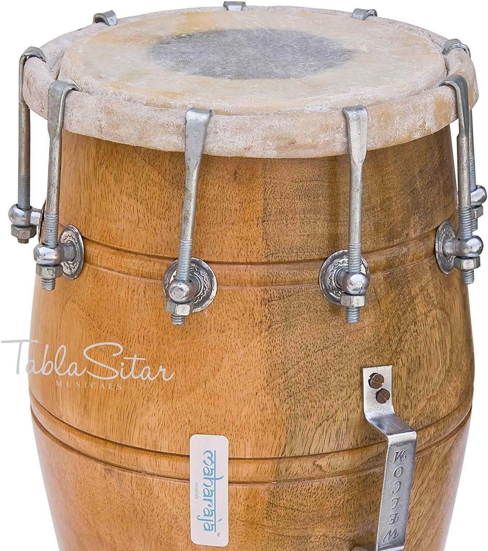 Mango Wood Padded Bag Musicals Dholak Drum Spanner Bolt-tuned Dholki Musical Instrument PDI-AJD