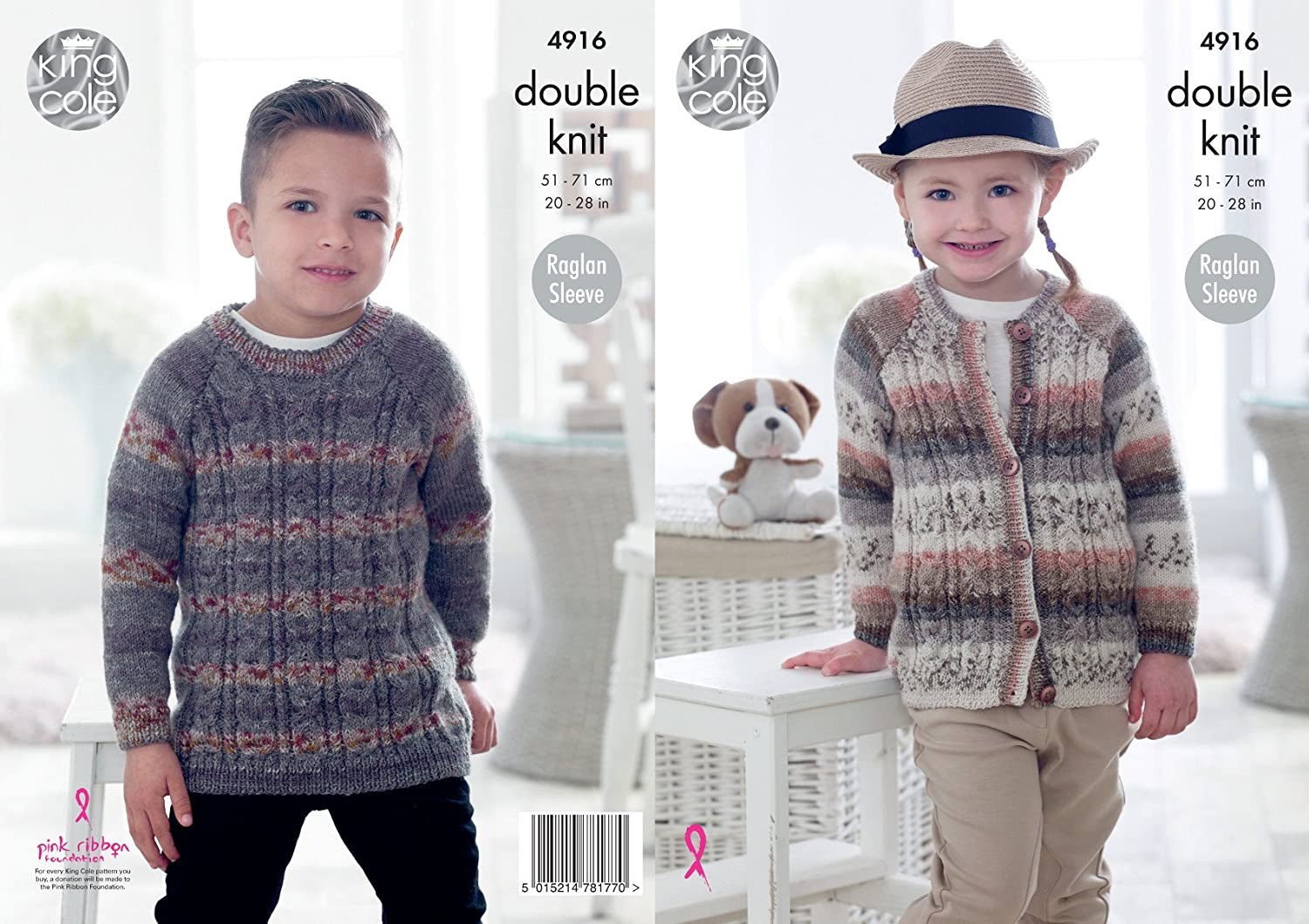 King Cole Childrens Double Knitting Pattern Boys Girls Raglan Sleeve ...