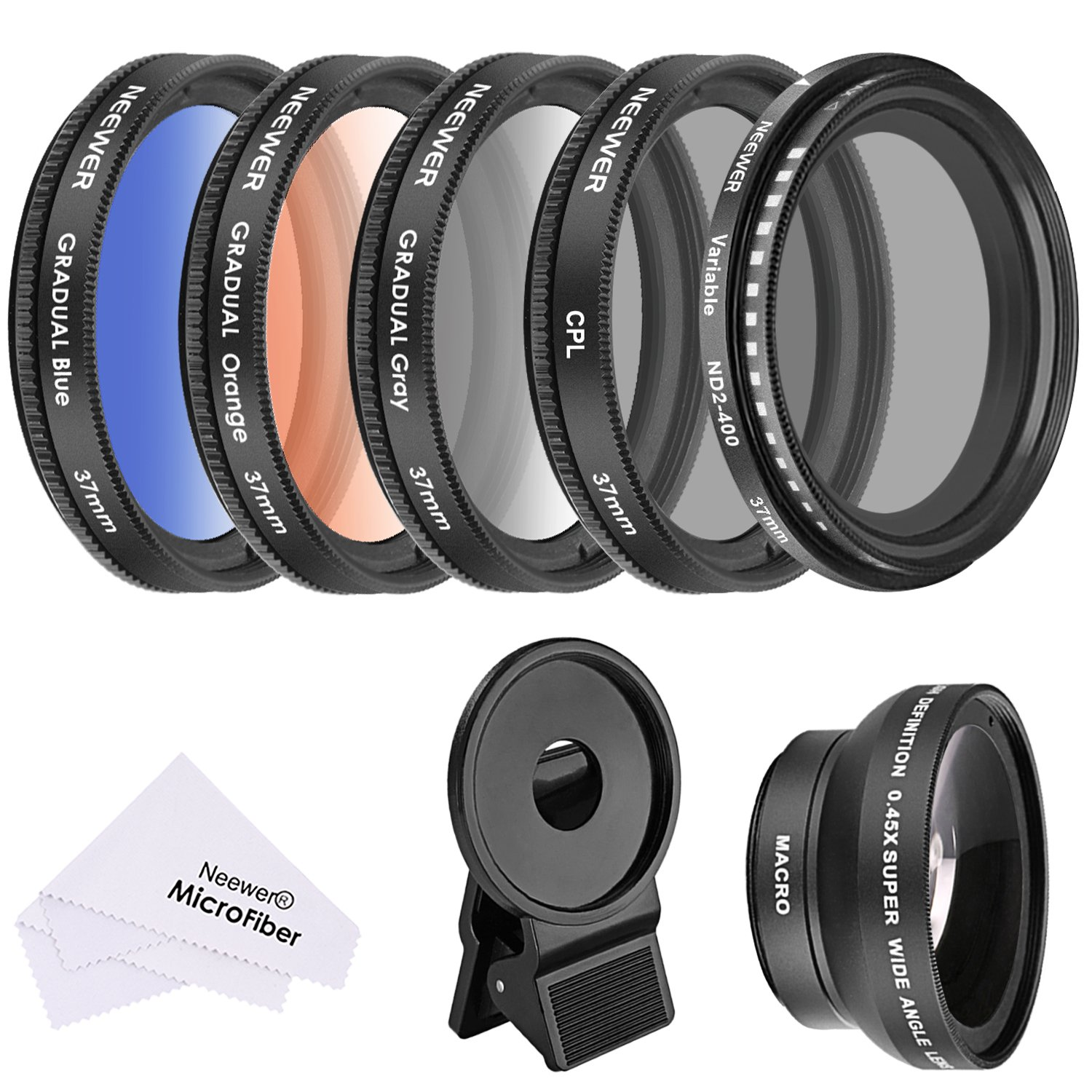 Neewer 37 MM Cell Phone Lens Accessory Kit, Includes 0.45X Wide Angle Lens,Lens Clip, Graduated Color Filters (Blue Orange Grey), Circular Polarizer CPL Filter, Neutral Density ND2-400 Filter 10088674