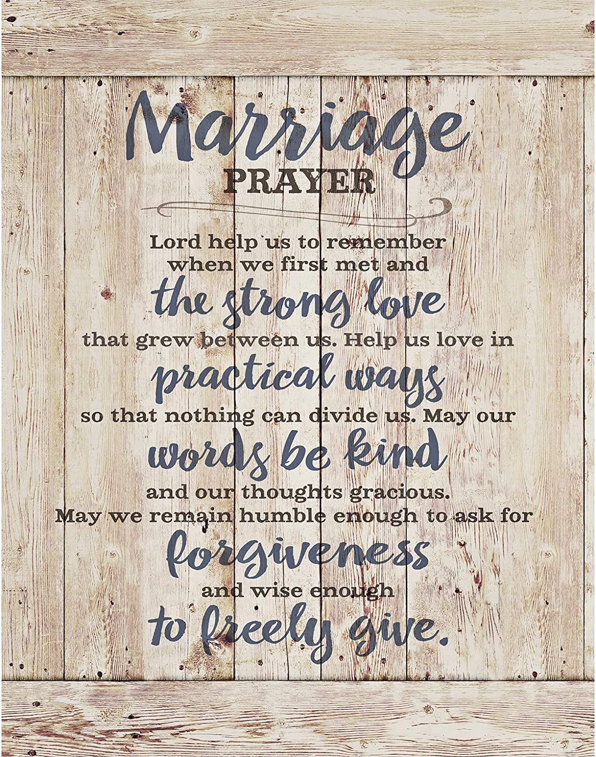 """Marriage Prayer Wood Plaque Inspiring Quote 11.75""""x15"""" - Classy Vertical Frame Wall Hanging Decoration 