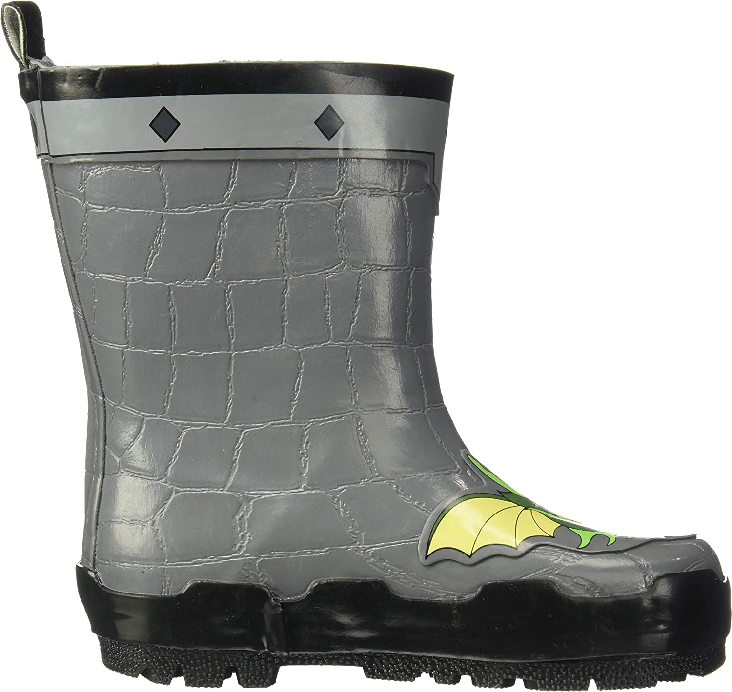 Kidorable Dragon Knight Grey Natural Rubber Rain Boots With A Pull On Heel Tab Big Kid