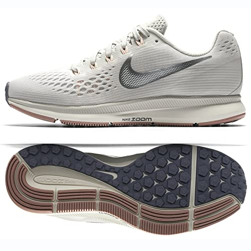 Nike WmnsAir Zoom Pegasus 34, Zapatillas para Mujer, (Light Bone/Chrome/Pale Grey/Sail 001), 39 EU: Amazon.es: Zapatos y complementos