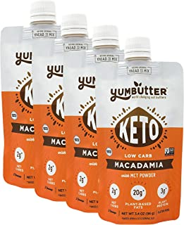 product image for Keto Nut Butter, Macadamia – Keto Snacks with MCT Oil, Fat Bomb Low Carb Snacks (2 Net Carbs), On-the-go Keto Food by Yumbutter, 3.4oz pouch, 4 pack
