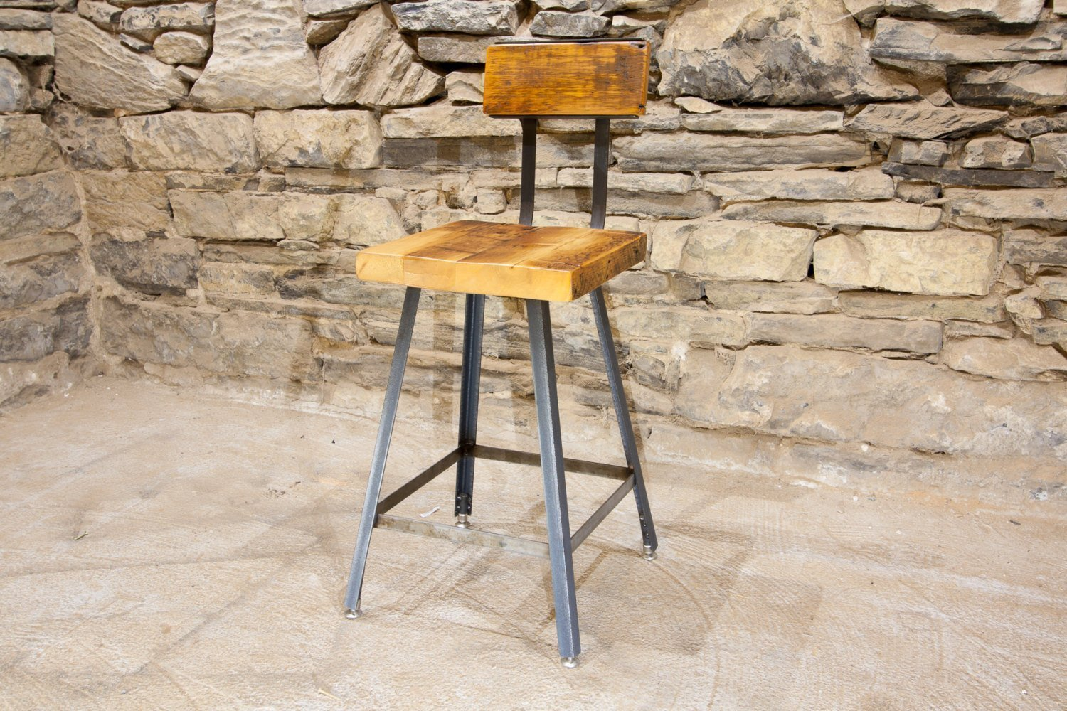 The Brewster Bar Stool | Reclaimed Wood | Hand Made | Industrial Base | Back Rest | Free Shipping
