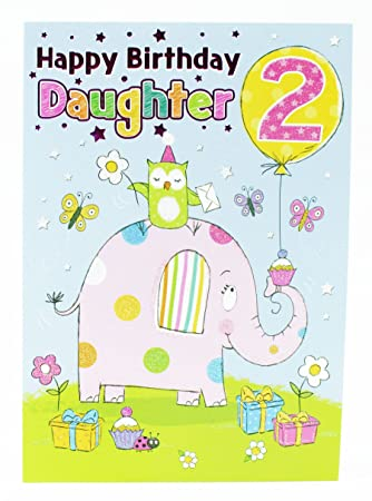 Happy 2nd Birthday Girl Greeting Cards To Daughter Pink Baby Luxury Age Kids