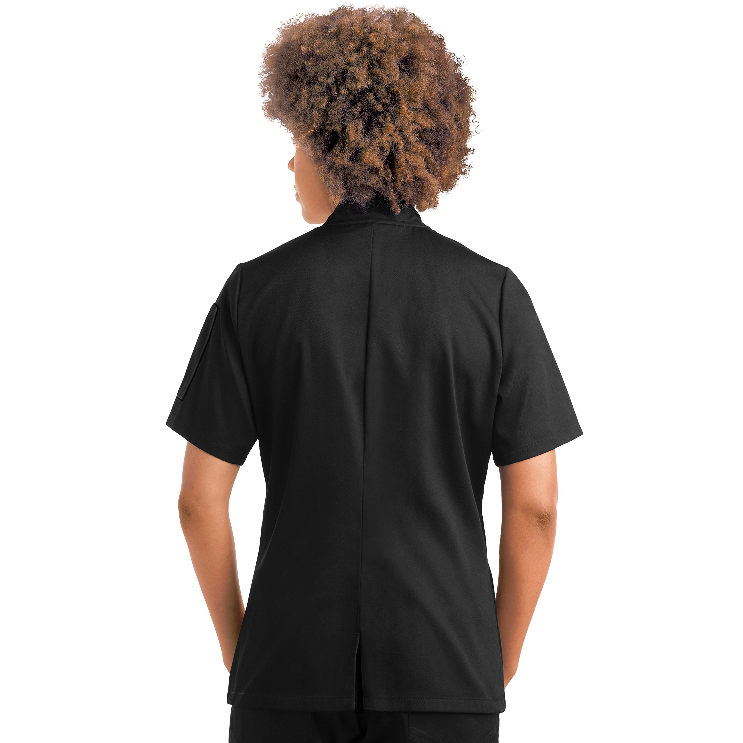 On The Line Women's Short Sleeve Chef Coat/Double Breasted/Plastic Button Reversible Front Closure (S-2X, 2 Colors) (Small, Black) by On The Line (Image #8)