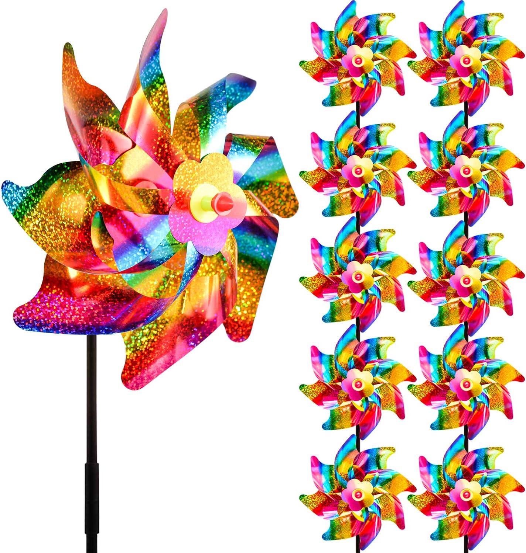 UDYR Bird Repellent Pinwheels Deterrent Reflective Sparkly Pin Wheels for Garden Patio Yard to Scare Birds Away 10 Sets (Rainbow)
