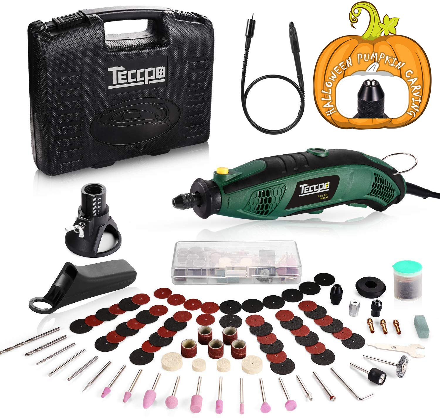 Upgraded Rotary Tool TECCPO 8,000-35,000RPM, Universal Keyless Chuck, Flex shaft, Cutting Guide, Auxiliary Handle 84 Accessories Attachments, Ideal for Halloween Pumpkin Carving DIY projects