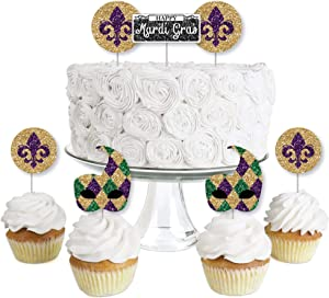 Big Dot of Happiness Mardi Gras - Dessert Cupcake Toppers - Masquerade Party Clear Treat Picks - Set of 24
