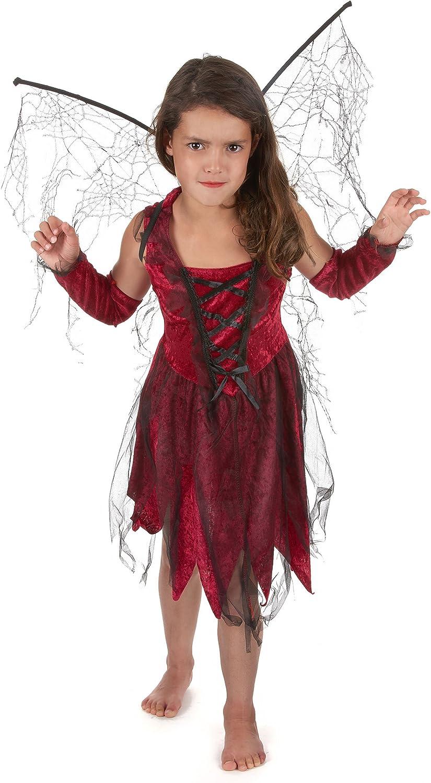 Generique - Disfraz Hada maléfica roja Negra niña: Amazon.es ...