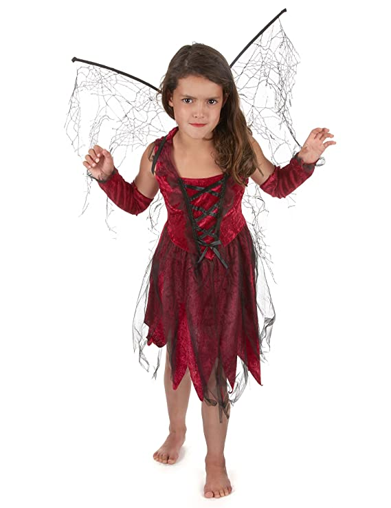 Disfraz hada maléfica roja negra niña - 10-12 años: Amazon ...