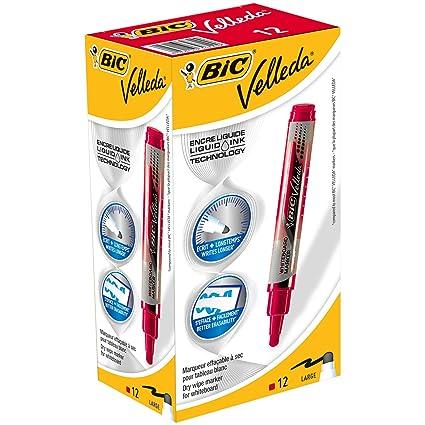 Bic Velleda - Rotulador de tinta líquida para pizarra blanca (borrado en seco, caja de 12 unidades) color rojo