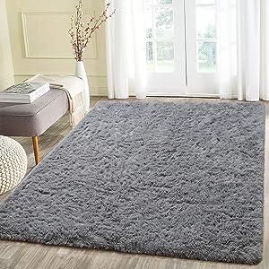 Beglad 4 ft x 5.3 ft Soft Fluffy Area Rug Modern Shaggy Bedroom Rugs for Kids Room Extra Comfy Nursery Rug Floor Carpets Boys Girls Fuzzy Shag Fur Home Decor Rug, Grey