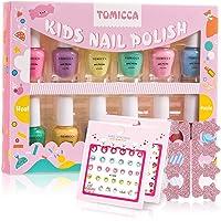 TOMICCA Kids Nail Polish Set Candy Rainbow Colors 100% Non-Toxic Washable Odorless Peel Off Natural Safe Nail Polish Set…