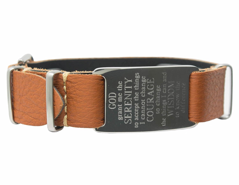 Dakota Serenity Prayer Engraved Bracelet, Genuine Italian Leather Band, Tan