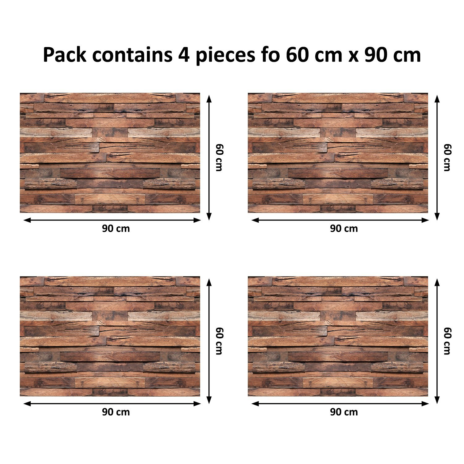 Wall Stickers ''Flexiplus Timber Strips 4 packs'' Removable Self-Adhesive Wall Mural Art Home Living Room Kitchen Décor Restaurant Cafe Hotel Decoration
