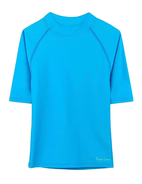 Tuga Girls Short Sleeve Rash Guard, UPF 50+ Sun Protection Swim Shirt