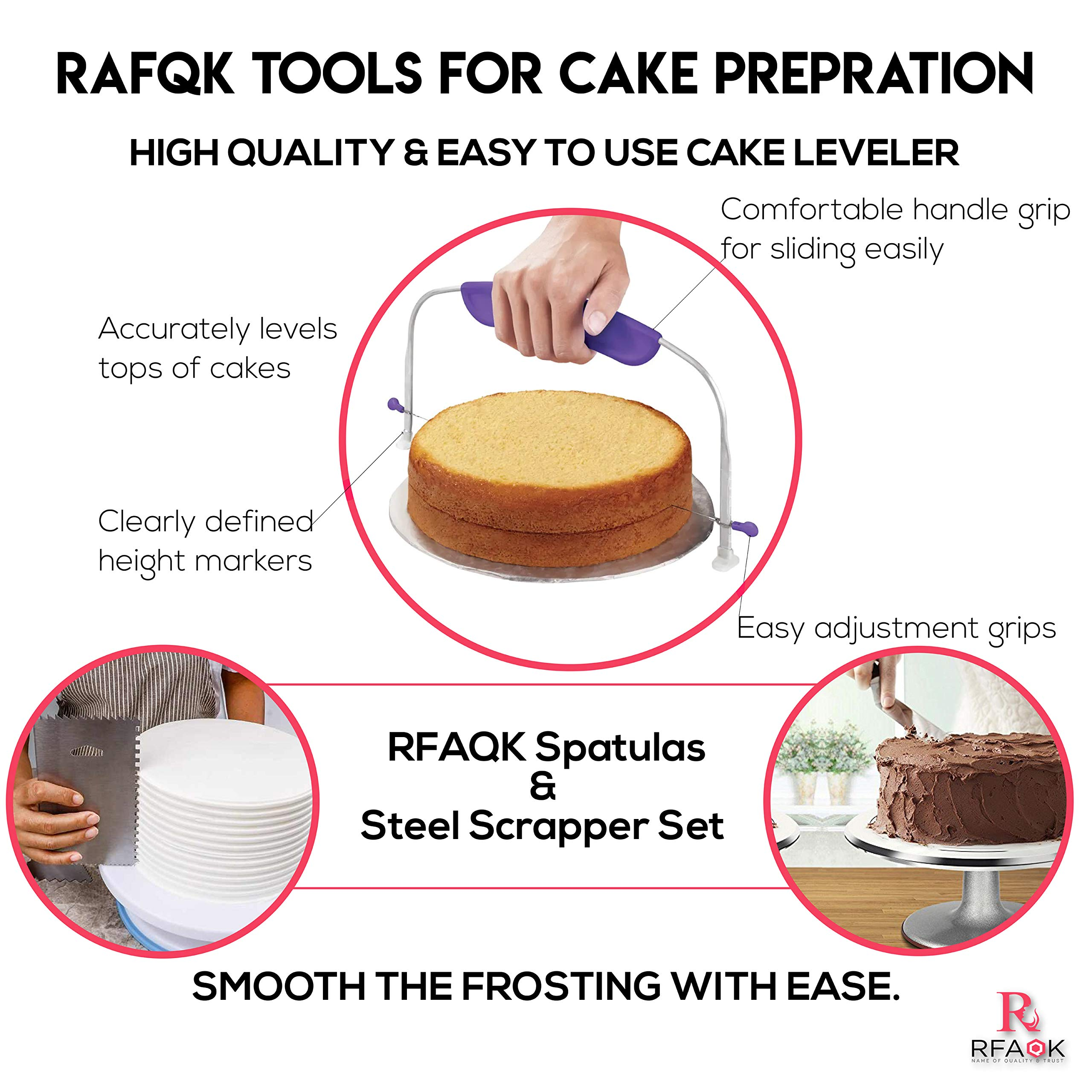 100 Pcs Cake Decorating Kit with Aluminum Metal Turntable-Rotating Stand-Cake server & knife set-48 Numbered Icing tips-7 Russian Piping nozzles-Straight & Angled Spatula-Cake Leveler& Baking supplies by RFAQK (Image #5)