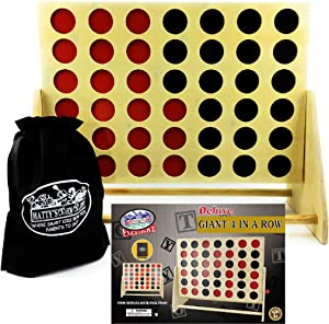 """Matty's Toy Stop Deluxe Giant Wooden 4 in a Row Game with Storage Bag for Discs (23.25"""" x 19"""")"""
