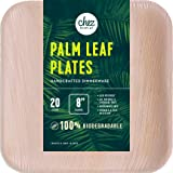 Palm Leaf Plates (8 Inch Squared) | All Natural, Chemical-Free, Eco-Friendly and Biodegradable | Elegant, Disposable Dinnerware for Parties | Better than Bamboo