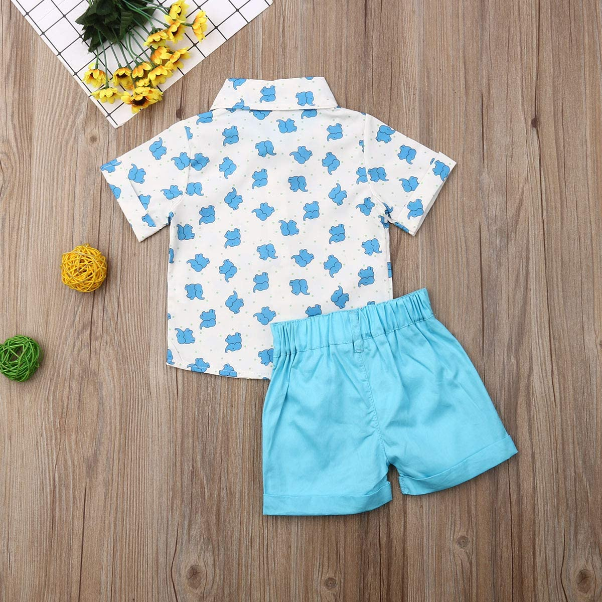 Solid Shorts Pants Toddler Baby Boys Summer Outfits Set Gentleman Button-Down Short Sleeve Shirt Blouse Tops
