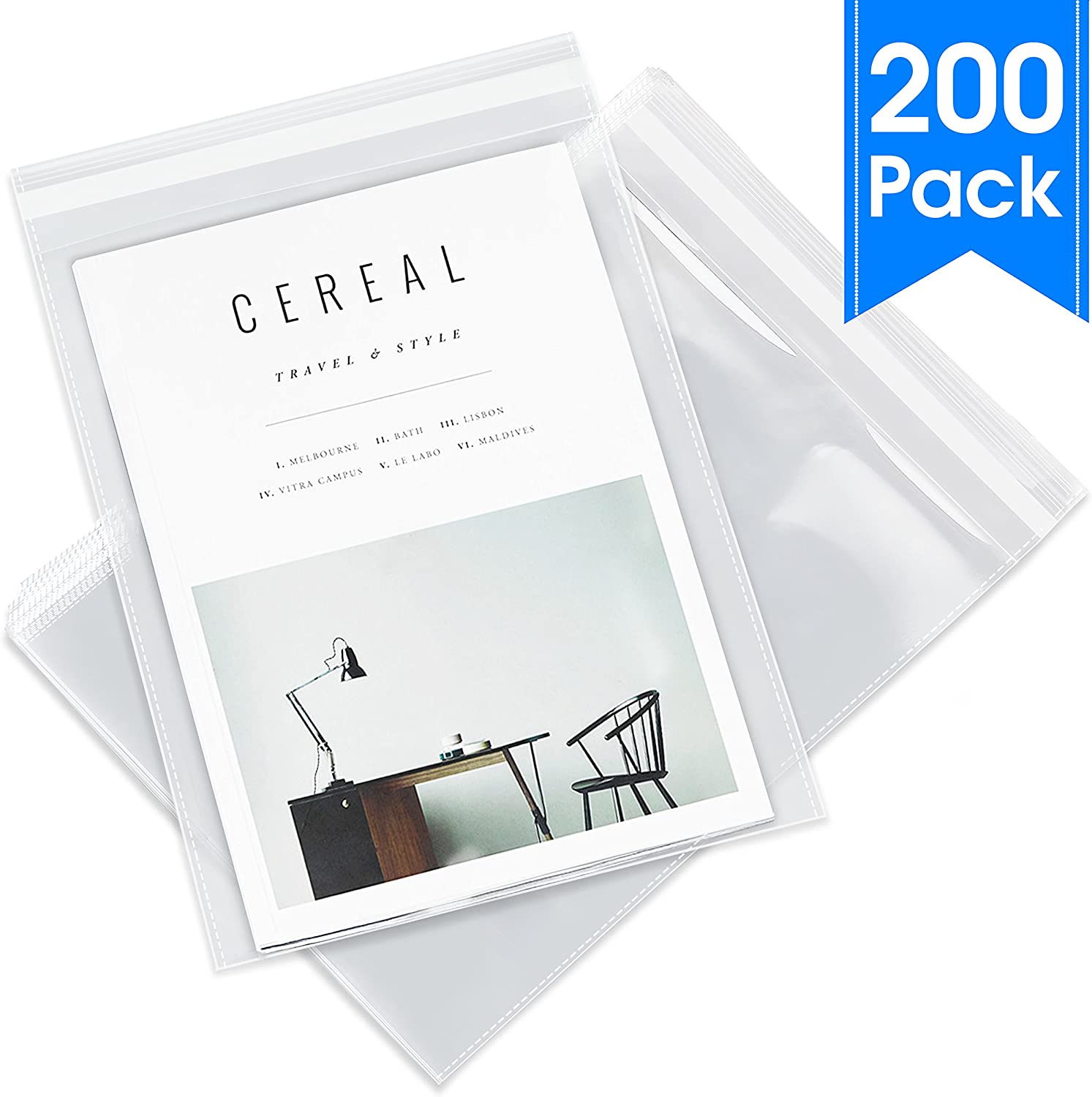 "Pack It Chic - 9"" X 12"" (200 Pack) Clear Resealable Cellophane Cello Bags - Fits A4, Letter Sized Documents, Marketing Materials - Self Seal (More Sizes Available)"