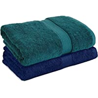 Trella 100% Cotton 2 Piece 500 GSM Large Cotton Bath Towel Set :: 140 x 70 cm