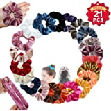 LEEQ 21 Colors Hair Scrunchies Satin Elastic Ties Hair Bands Scrunchy Vintage Ponytail Holder Headbands for Women Girls, 21 Pieces