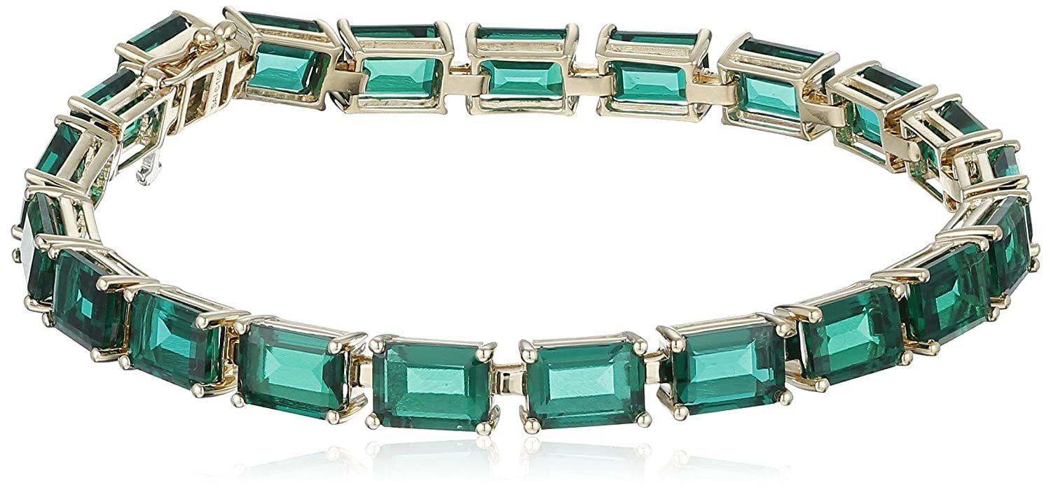 Excellent Amazon.com: 10k Yellow Gold and Created Emerald Bracelet, 7  DV67