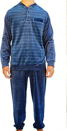 Algodonea - Pijama Caballero Terciopelo Azul Marino
