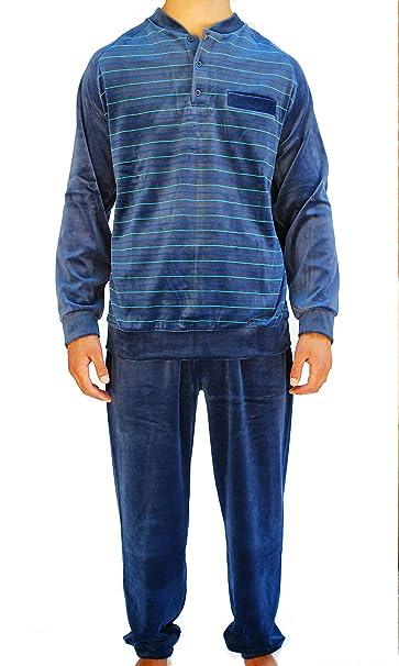 Algodonea - Pijama Caballero Terciopelo Azul Marino - M