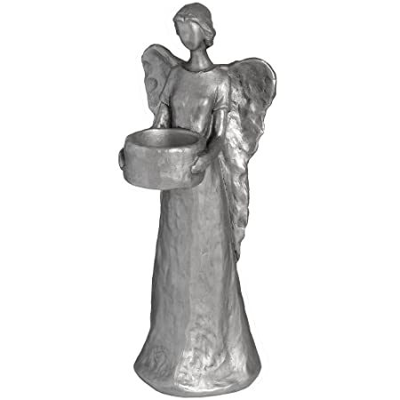 hill interiors silver standing angel candle holder one size