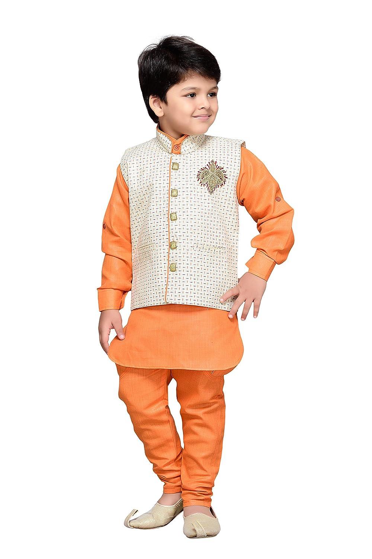 AJ Dezines Kids Indian Wear Bollywood Style Kurta Pyjama Waistcoat for Boys 661-$P