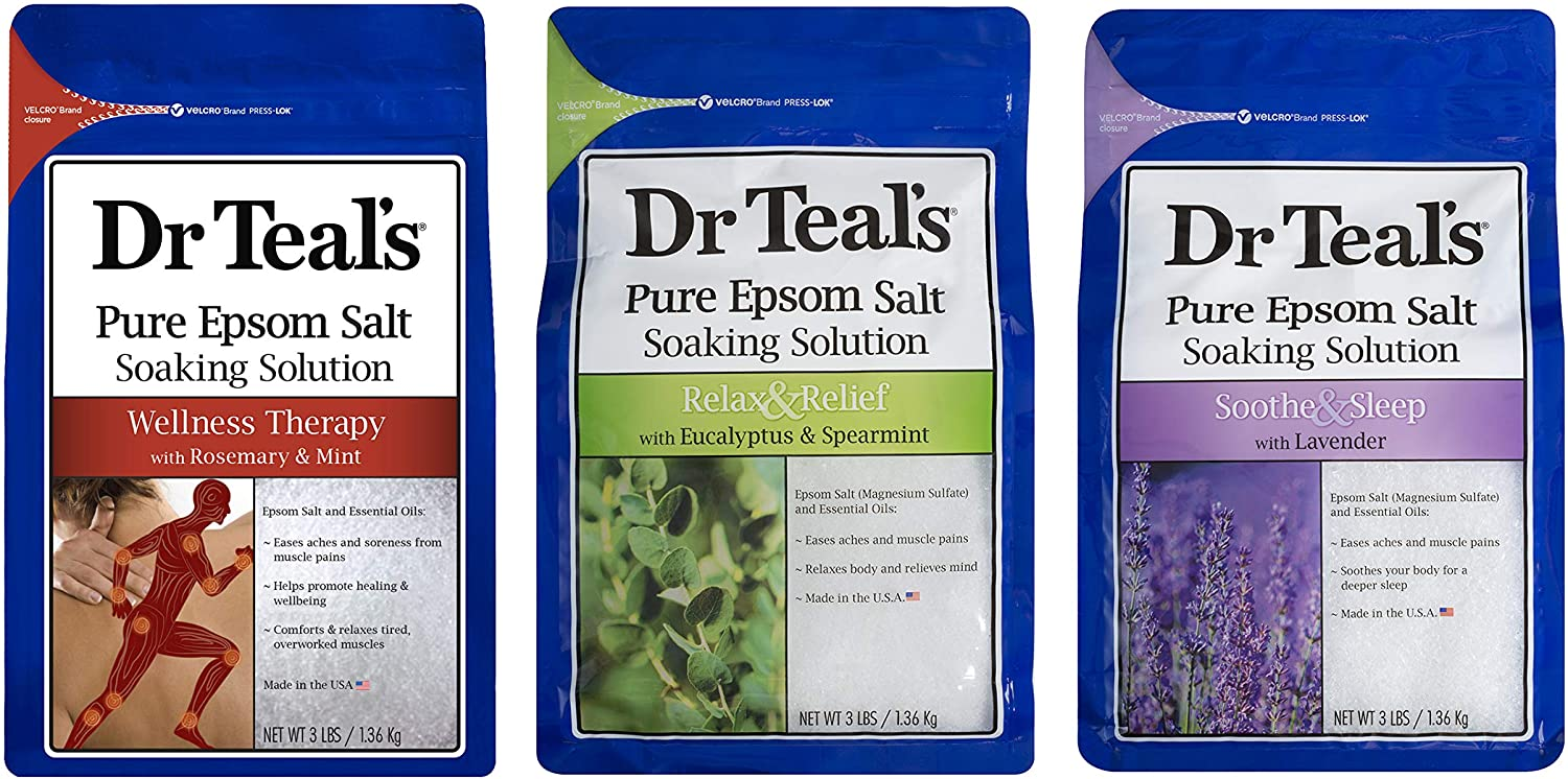 Dr. Teal's Epsom Salt Bundle, 3 Items: 1 Relax & Relief Eucalyptus Spearmint, 1 Sooth & Sleep Lavender and 1 Therapy & Relief Rosemary and Mint, 48 Ounce each, 1 Set