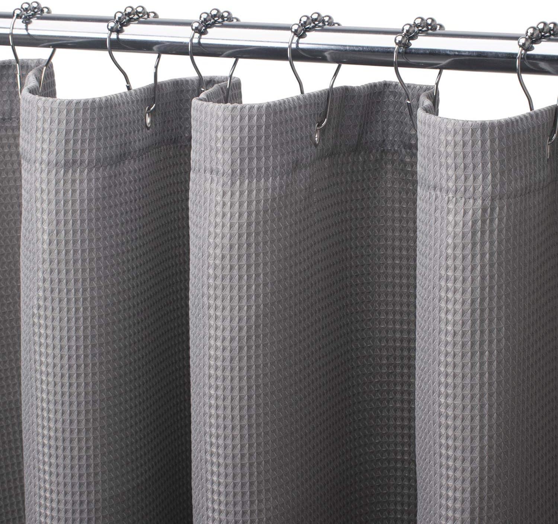 72 x 84 Inches Grey AmazerBath Waffle Shower Curtain Heavy Duty Fabric Shower Curtains with Waffle Weave Hotel Quality Bathroom Shower Curtains