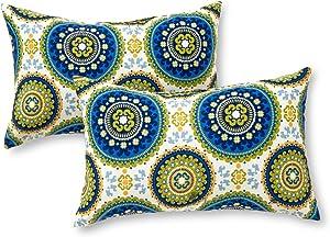 Greendale Home Fashions AZ5811S2-SUMMER Cobalt Medallion Outdoor Rectangle Throw Pillow (Set of 2), Juniper