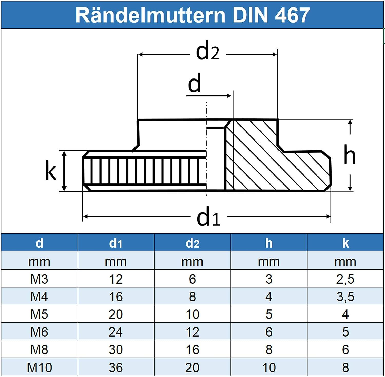 forma baja, DIN 467, acero inoxidable A1 1.4305 Tuercas moleteadas Eisenwaren2000