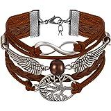 JewelryWe Bijoux Bracelet Artisanal Rétro Arbre de Vie Infini Aile d'Ange Coeur Manchette Cuir Alliage Fantaisie pour Homme et Femme Multi-Couleur
