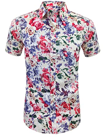 f527bfe2792a Daupanzees Men s Funky Hawaiian Shirt Flower Tropical Aloha Shirts Unisex  Casual Hawaiian-Print Party Button