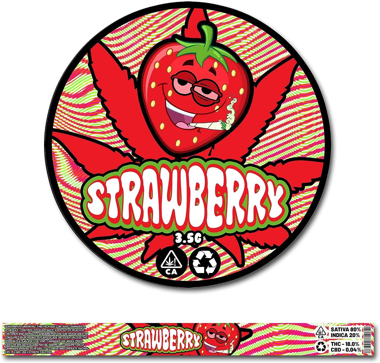 Prova dAcqua Solo Adesivi Green Buddha 30x Strawberry Cali Original Pressitin Stardawg Ring Pull Tin Adatto Solo 3,5 g//100 ml Coperchio /& Premium Laser Printed RX Etichette adesive
