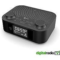 Majority Fulbourn II Radio numérique Dab/Dab+ - Radio FM - sans Fil Bluetooth - Radio Double réveil - Double Alarme - AUX MP3 - Chargement USB Double (Noir)