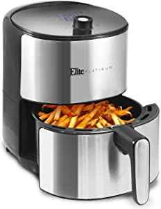 Elite Platinum EAF-680D Digital Air Fryer Oil-Less Cooker, XL Capacity up to 3.2 Lbs of Food 8 Menu Functions, PFOA/PTFE Free, 1500-Watts with 26 Full Color Recipes, 4.5 Quart, Stainless Steel